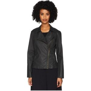 Eileen Fisher Waxed Stretch Twill Moto Jacket